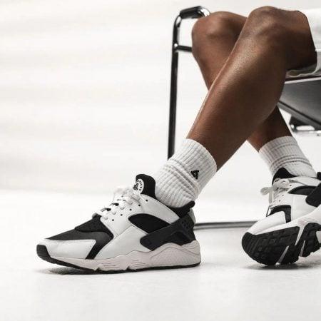 Nike Air Huarache Black and White On Feet