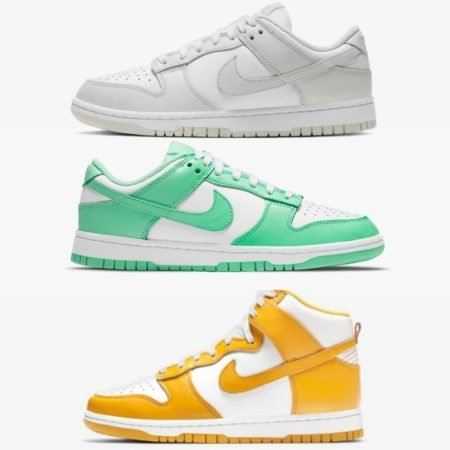 Nike Wmns Dunk Dark Sulfur Photon Dust green glow Releases