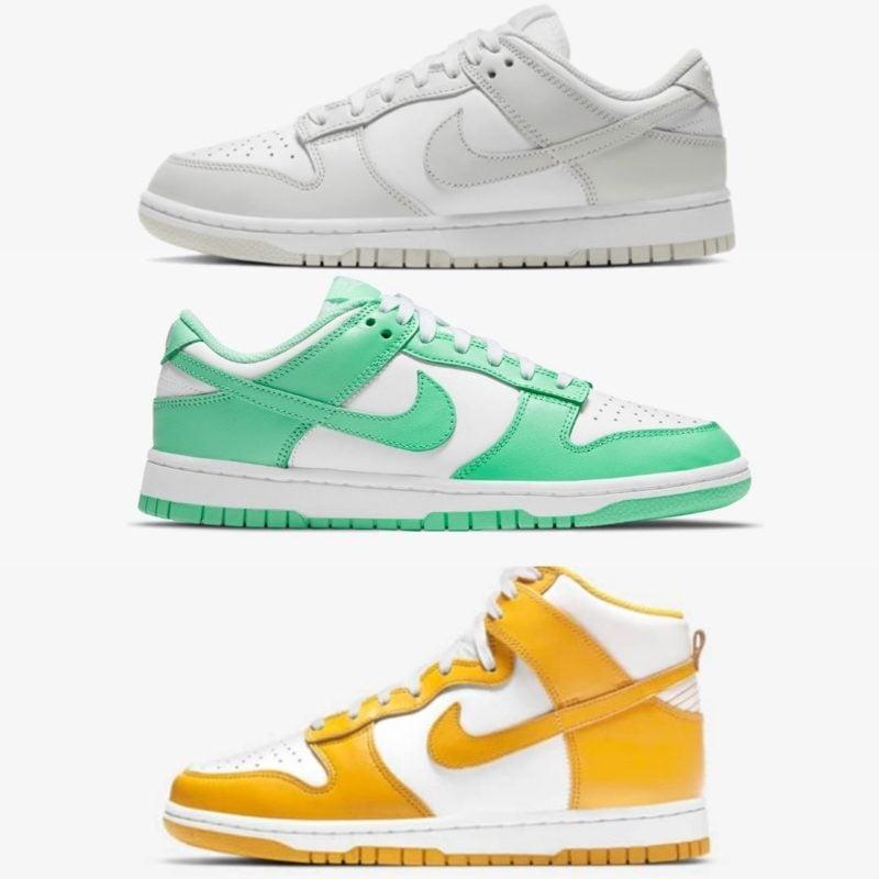 Nike Wmns Dunk Dark Sulfur Photon Dust green glow Releases