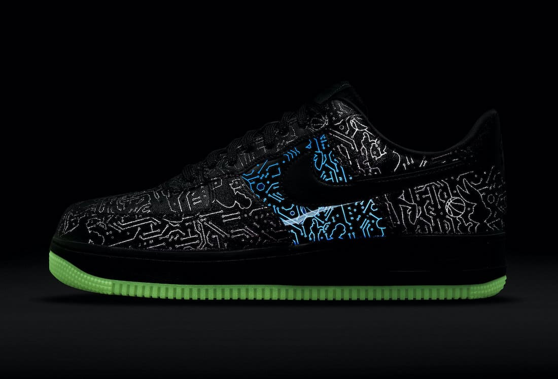 Space Jam x Nike Air Force 1 Low Computer Chip Glow in the Dark