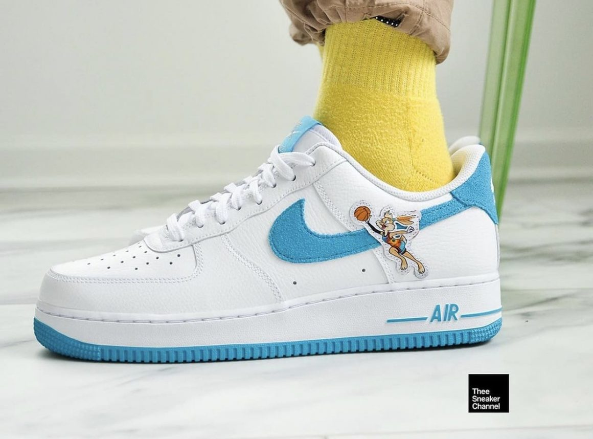 Space Jam x Nike Air Force 1 Low Hare On Feet Leftside