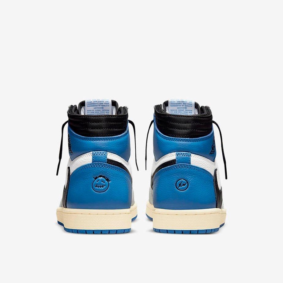 Travis Scott Fragment Air Jordan 1 Military Blue DH3227-105 Release Date 2021 July Heel Both
