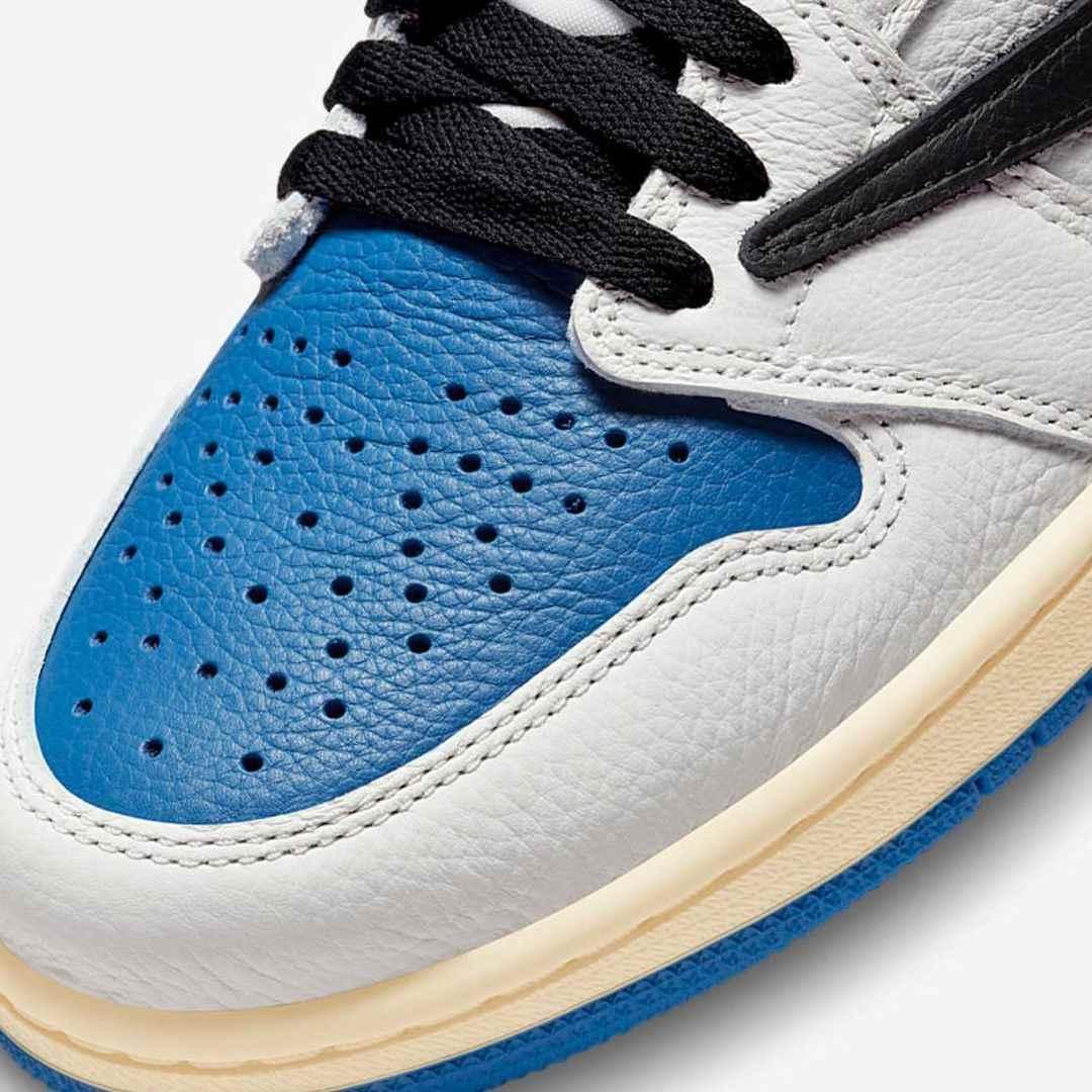 Travis Scott Fragment Air Jordan 1 Military Blue DH3227-105 Release Date 2021 July Toebox