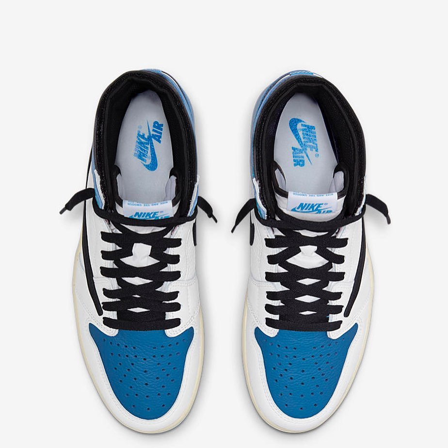 Travis Scott Fragment Air Jordan 1 Military Blue DH3227-105 Release Date 2021 July from above