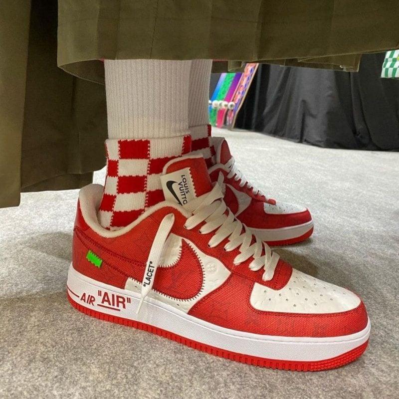 Virgil Abloh Louis Vuitton x Nike Air Force 1 Weiß rot