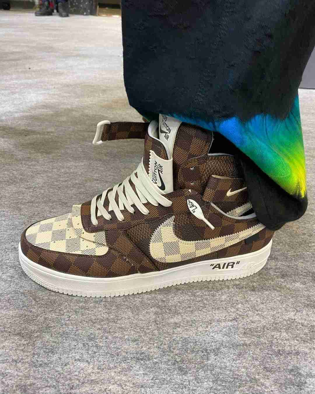 louis vuitton nike air force 1 mid ss22 brown sideview