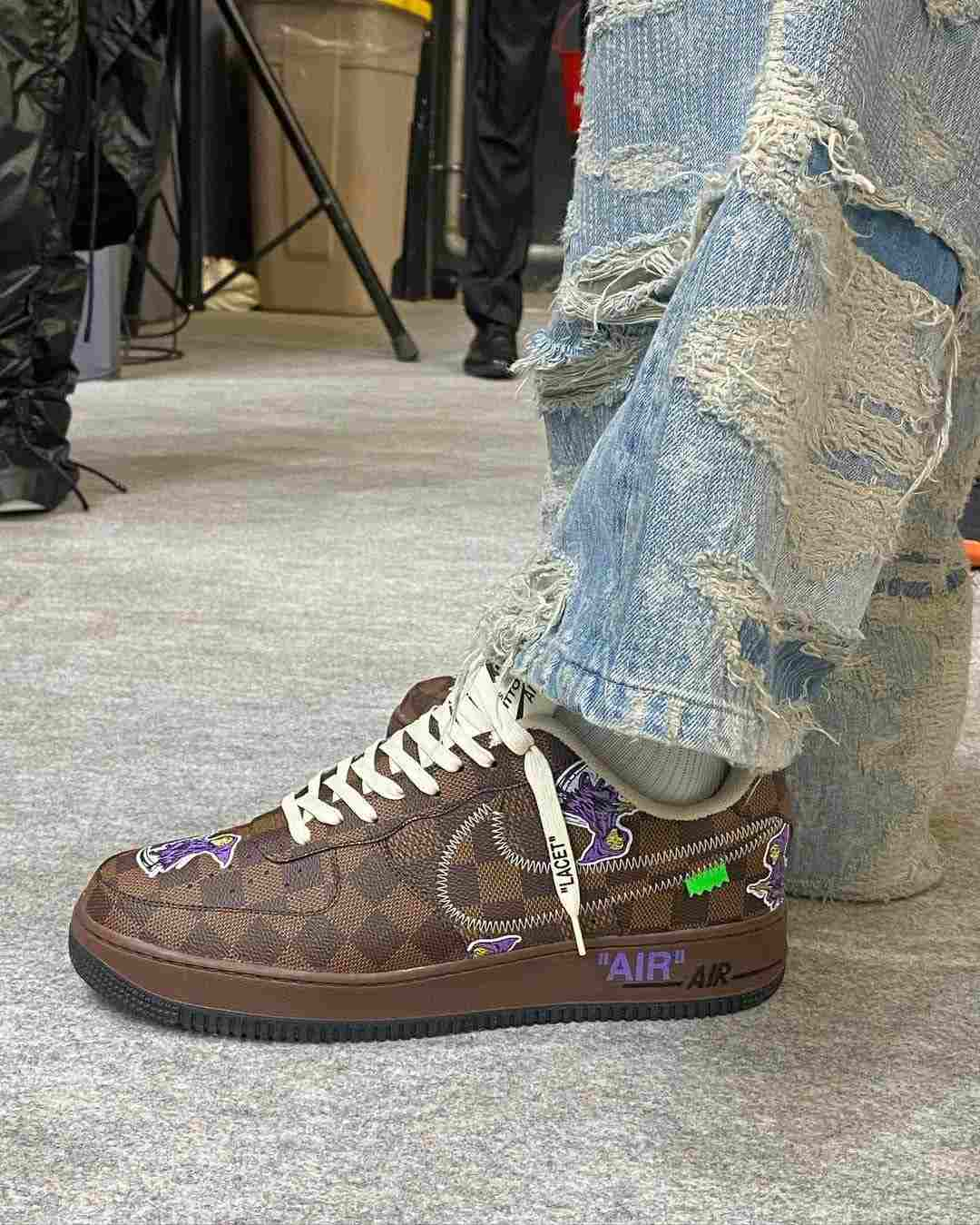 louis vuitton nike air force 1 ss22 brown sideview