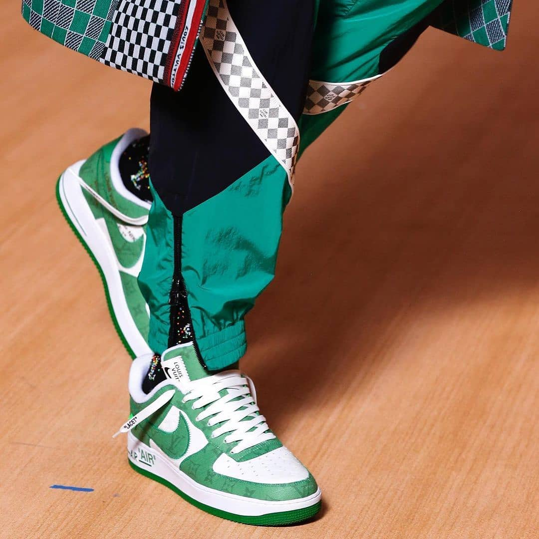 louis vuitton nike air force 1 ss22 green frontview