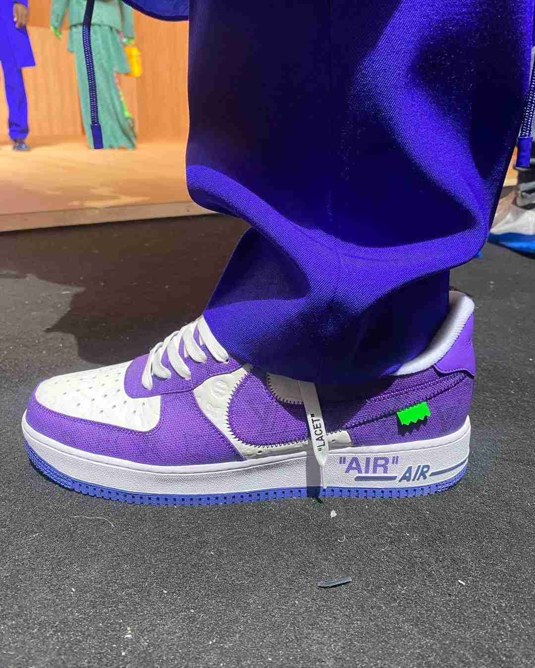 louis vuitton nike air force 1 ss22 purple sideview