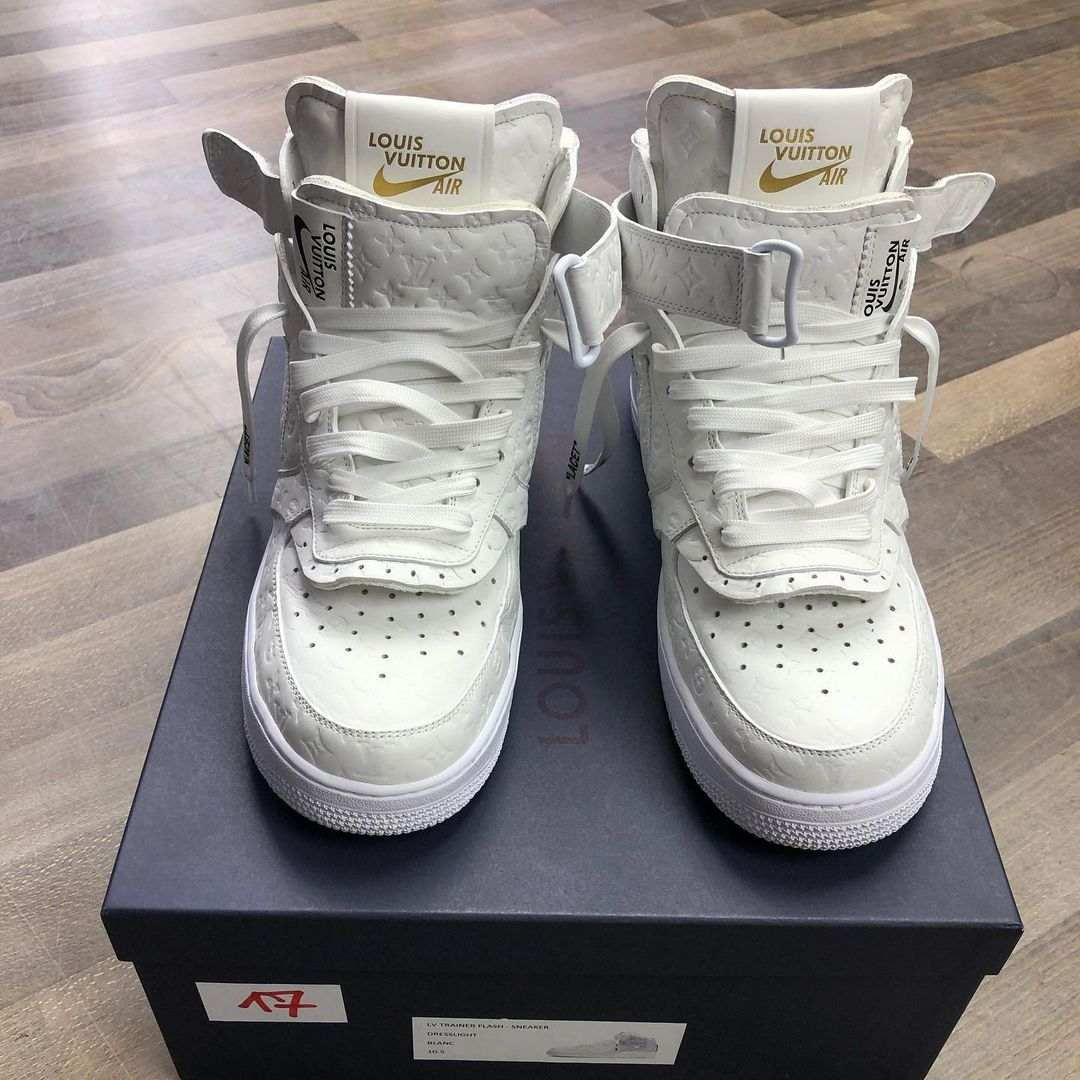 louis vuitton nike air force 1 ss22 white frontview